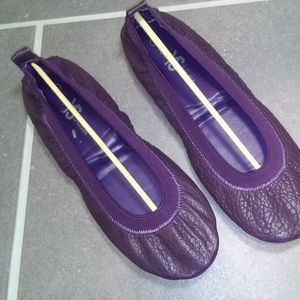 Yosi Samira Fold-able Leather Ballet Flat Purple